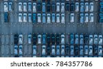 aerial view of new cars parking ...   Shutterstock . vector #784357786