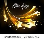 five flying golden comets on a... | Shutterstock .eps vector #784380712