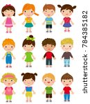 Stock vector group of cute children collection 784385182