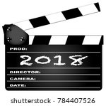 a typical movie clapperboard...   Shutterstock .eps vector #784407526