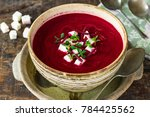 beetroot soup garnished with...   Shutterstock . vector #784425562