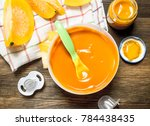 baby food. baby puree from... | Shutterstock . vector #784438435
