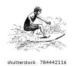 hand sketch surfer. vector...