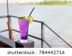 butterfly pea iced soft drinks... | Shutterstock . vector #784442716