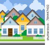 street of suburban town   rows... | Shutterstock .eps vector #784447432