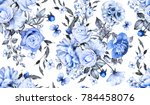 seamless pattern with flowers... | Shutterstock . vector #784458076