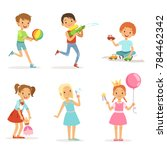 happy children playing with... | Shutterstock . vector #784462342
