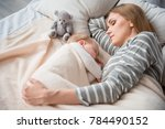 peaceful woman slumbering with... | Shutterstock . vector #784490152