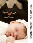 Small photo of Portrait of adorable newborn baby sleeping