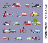 road accident icons set with... | Shutterstock . vector #784516768