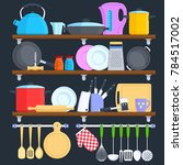 kitchen shelves with cookware... | Shutterstock . vector #784517002