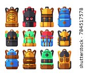 tourist backpack flat icons.... | Shutterstock . vector #784517578