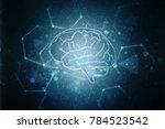 human brain 2d illustration | Shutterstock . vector #784523542