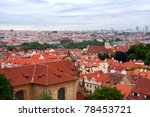Panorama of Historical Center of Prague, Czech Republic - stock photo