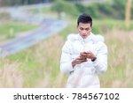male model wearing white...   Shutterstock . vector #784567102