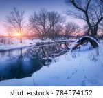 Winter Forest And River At...