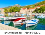 view of bol port with boats on... | Shutterstock . vector #784594372