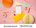 colorful pink background with... | Shutterstock . vector #784599196