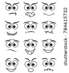 cartoon faces expression line... | Shutterstock . vector #784615732