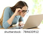 woman with eyesight problems... | Shutterstock . vector #784633912