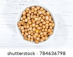 chickpeas peas raw from above... | Shutterstock . vector #784636798