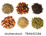 six types of tea on a white... | Shutterstock . vector #784642186