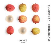 seamless pattern with lychee.... | Shutterstock . vector #784665448
