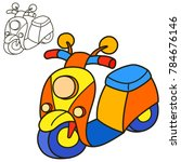 scooter. coloring book page.... | Shutterstock . vector #784676146