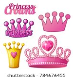 set of princess crowns isolated ... | Shutterstock . vector #784676455