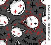 vector halloween pattern with... | Shutterstock .eps vector #784694905