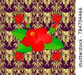 vector hibiscus flower seamless ... | Shutterstock .eps vector #784704466