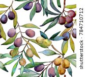 olive tree pattern in a... | Shutterstock . vector #784710712