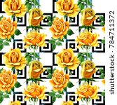 Stock photo wildflower rose flower pattern in a watercolor style full name of the plant yellow rose 784711372