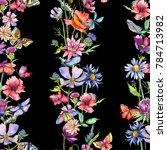 wildflower thistle flower... | Shutterstock . vector #784713982