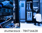 networking device on rack...   Shutterstock . vector #784716628