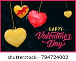 happy valentine day lettering... | Shutterstock .eps vector #784724002