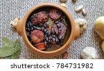 feijoada in ceramic bowl  ...   Shutterstock . vector #784731982