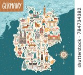 vector stylized map of germany. ... | Shutterstock .eps vector #784734382