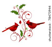 Red Cardinals With Christmas...