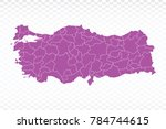 map turkey map. each city and... | Shutterstock .eps vector #784744615