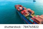 aerial view cargo ship ...