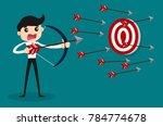 businessman aiming target.... | Shutterstock .eps vector #784774678