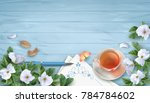 vector spring background with... | Shutterstock .eps vector #784784602