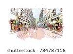 watercolor splash with sketch... | Shutterstock .eps vector #784787158