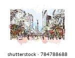 watercolor splash with sketch...   Shutterstock .eps vector #784788688
