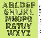 Vector Sketch Alphabet On Gree...