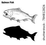 salmon art highly detailed in... | Shutterstock .eps vector #784812826