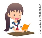 girls students study in the... | Shutterstock .eps vector #784820146