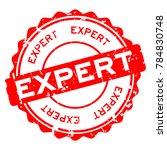 grunge red expert round rubber... | Shutterstock .eps vector #784830748