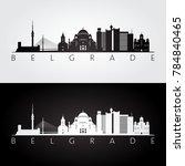 belgrade skyline and landmarks...   Shutterstock .eps vector #784840465